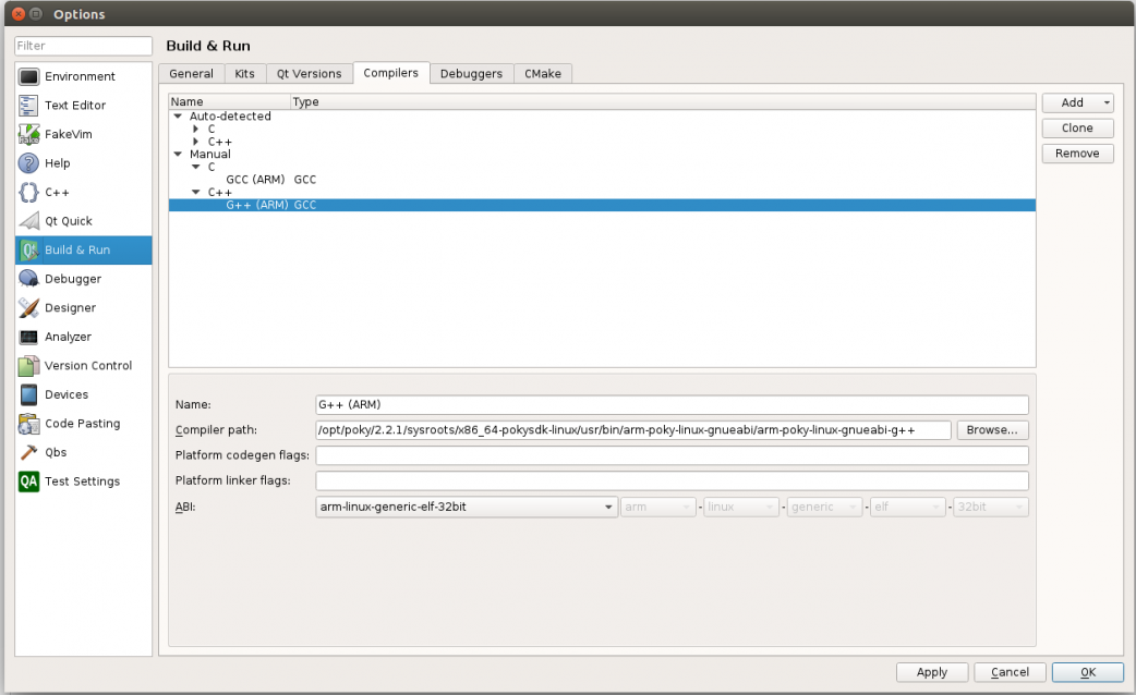 Configuring Qt Creator for Yocto Development