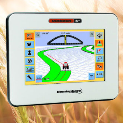 gps device floating over wheat field