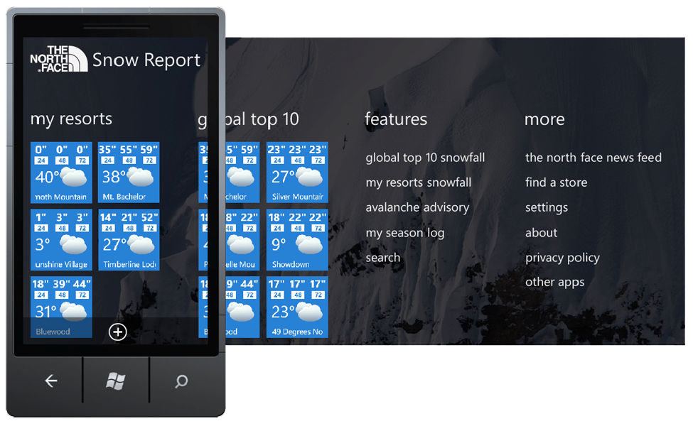 North Face Snow Report Main Navigation